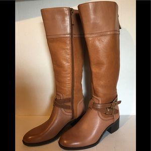 Franco Sarto 5.5 Wide Calf Brown Leather Boots
